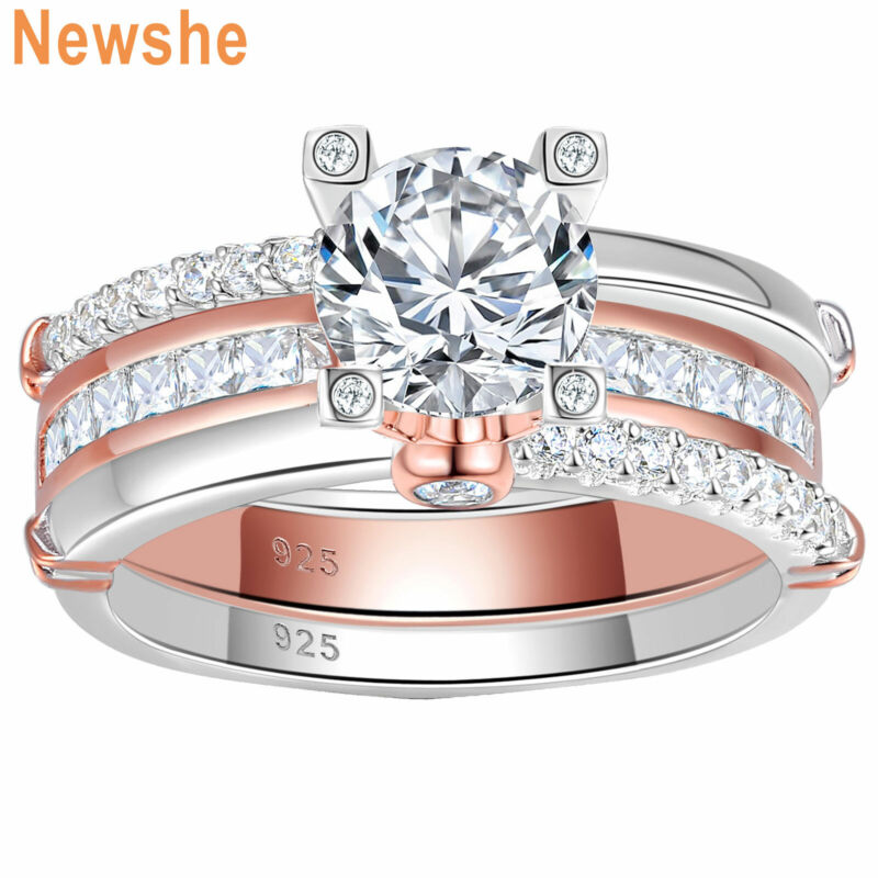 Newshe Wedding Engagement Ring Set Rose Gold 925 Sterling Silver Round Aaaaa Cz