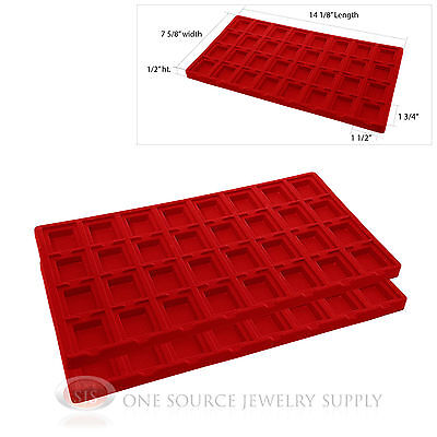2 Red Insert Tray Liners W 32 Compartments Earrings Organizer Jewelry Display