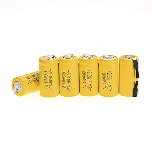 NEU 6 Stück Ni-Cd 1.2V 2/3AA 600mAh Wiederaufladbare Batterie NiCd Batterien