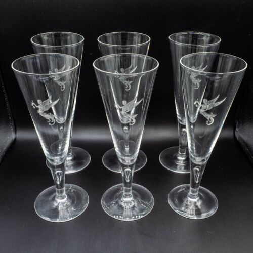 "Steuben Glass 7924 Champagne Flutes Set of 6 Etched Angel Teardrop 7 7/8"" H"