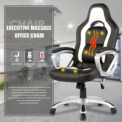 6 Point Massage Office Chair Leather Ergonomic Racing Game Computer Chair White