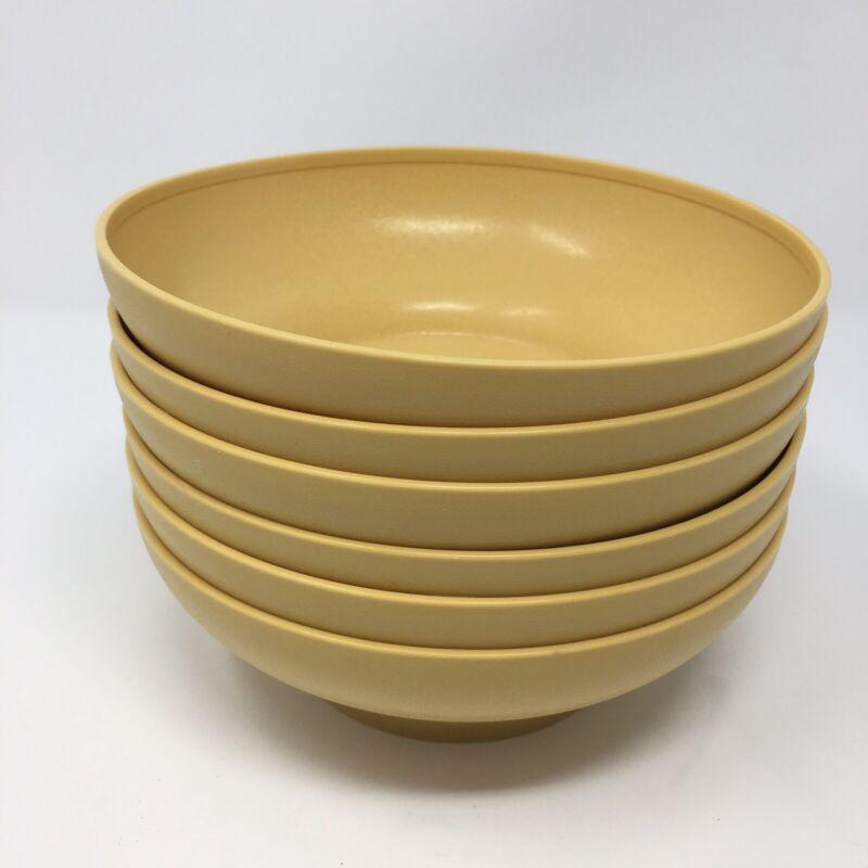 """Vintage Tupperware 6 1/4"""" Salad Cereal Bowls Harvest Gold #890 Set Of 6"""