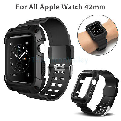 For Apple Watch iWatch 42mm Protective Rugged Case Strap Band Black Series 3 2 1