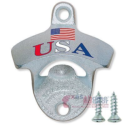 USA FLAG Starr X Beer Bottle Opener Stationary Wall Mounted Cast Iron w/ SCREWS (Starr Wall Mounted Bottle Opener)