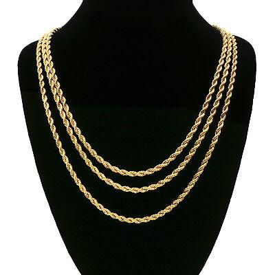 Men's 24K Gold Plated 3 Pcs 4mm Rope Chain Hip Hop Style Necklace Bundle Set