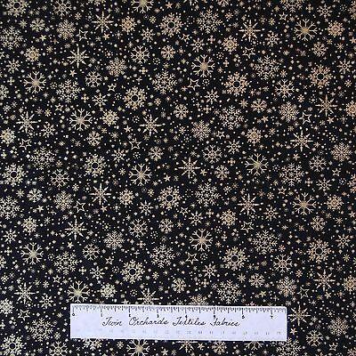 Christmas Fabric   Gold Gild Snowflakes On Black   Benartex Kanvas Studio Yard