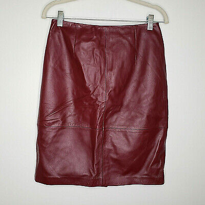 Talbots NWT Womens Burgandy Red Leather A-Line  Skirt Size 8P