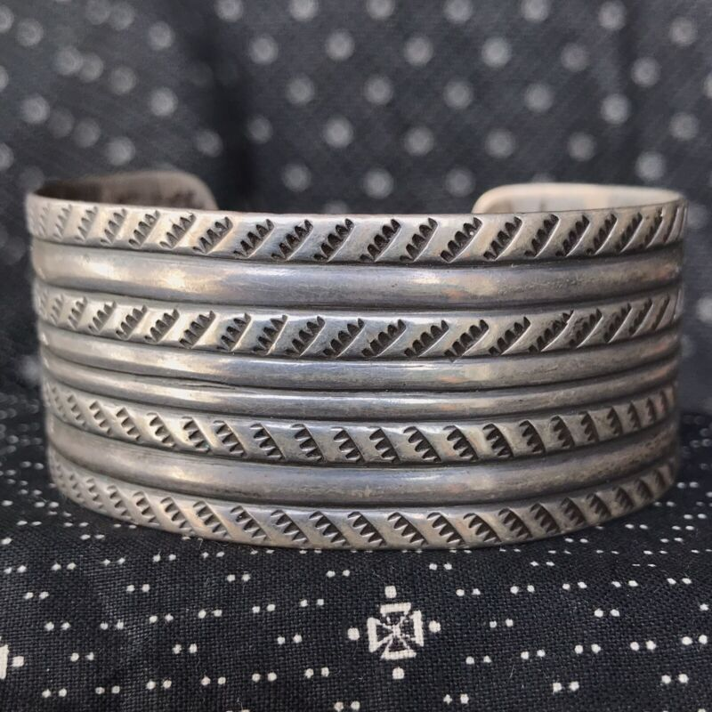 1920s Early Navajo Pawn Ingot Silver Wide Stamped Big Old Cuff Bracelet Harvey