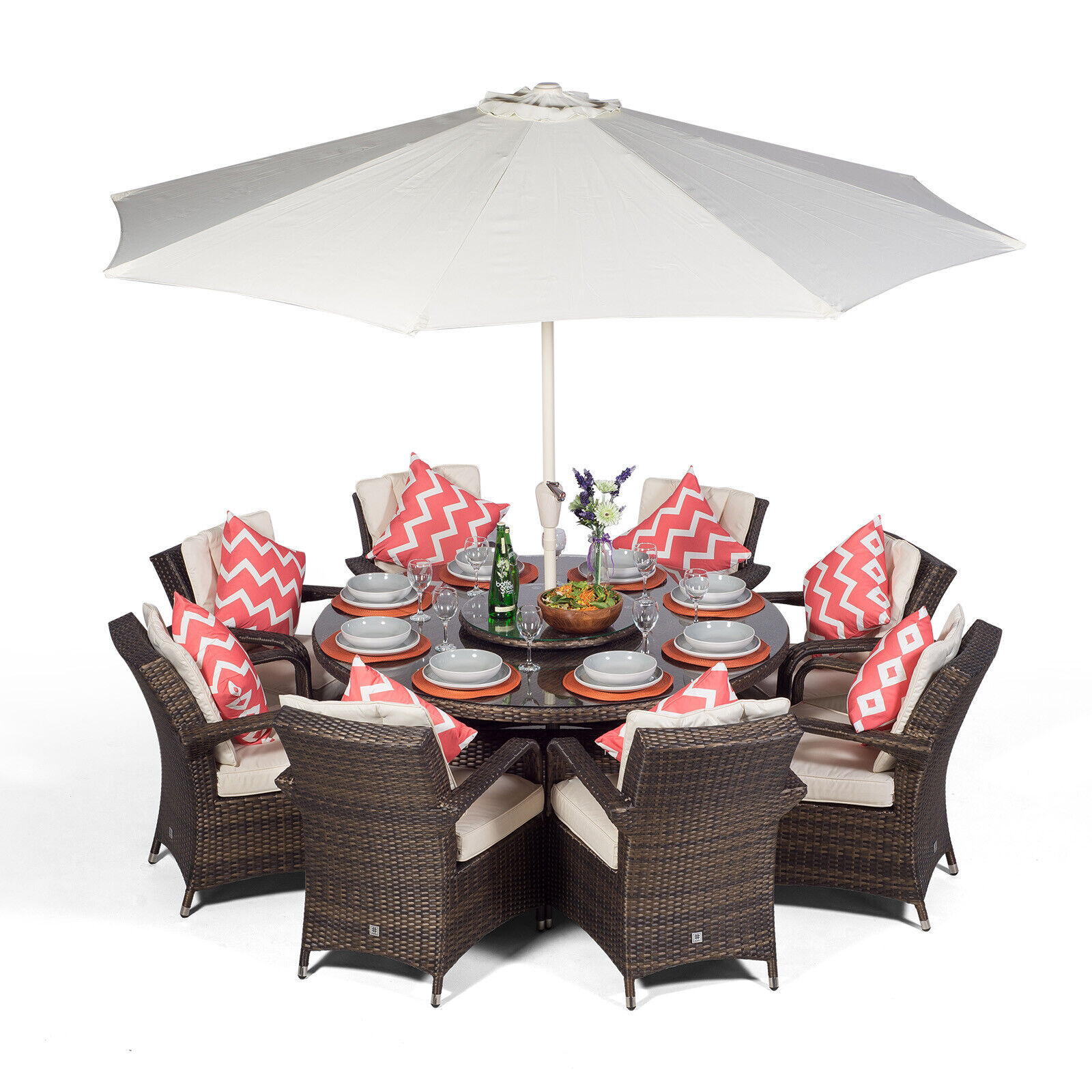 details about arizona 8 seater round rattan garden dining table chairs set patio furniture