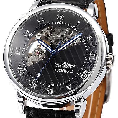 Winner Men's Hollow Mechanical Wrist Sports Watch Fan-shaped Black Leather Band