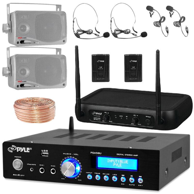 """3.5"""" 200W Silver Box Speakers, Bluetooth Amplifier, Speaker Wire, Mic Bundle"""