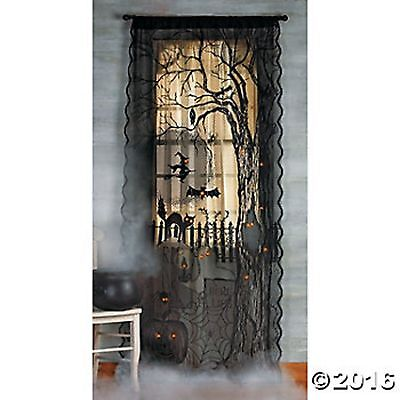 Spooky Lighted Lace Curtain Panel Prop Halloween NEW Haunted House Decor 40
