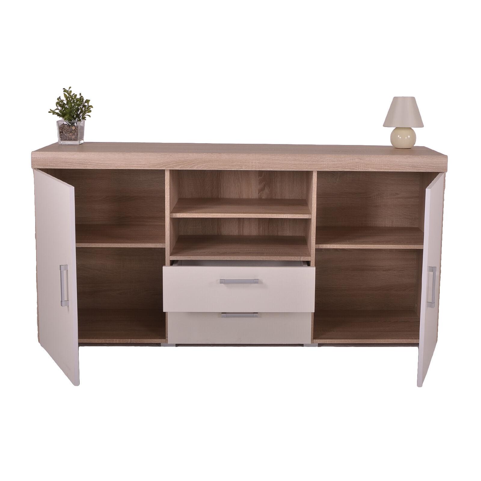 white sonoma oak large 2 door 2 drawer sideboard. Black Bedroom Furniture Sets. Home Design Ideas