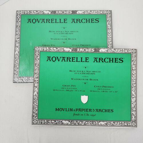 """2 Pkg Aquarelle Arches Watercolor Block Paper 12""""x16"""" Cold Pressed Cotton Sheets"""