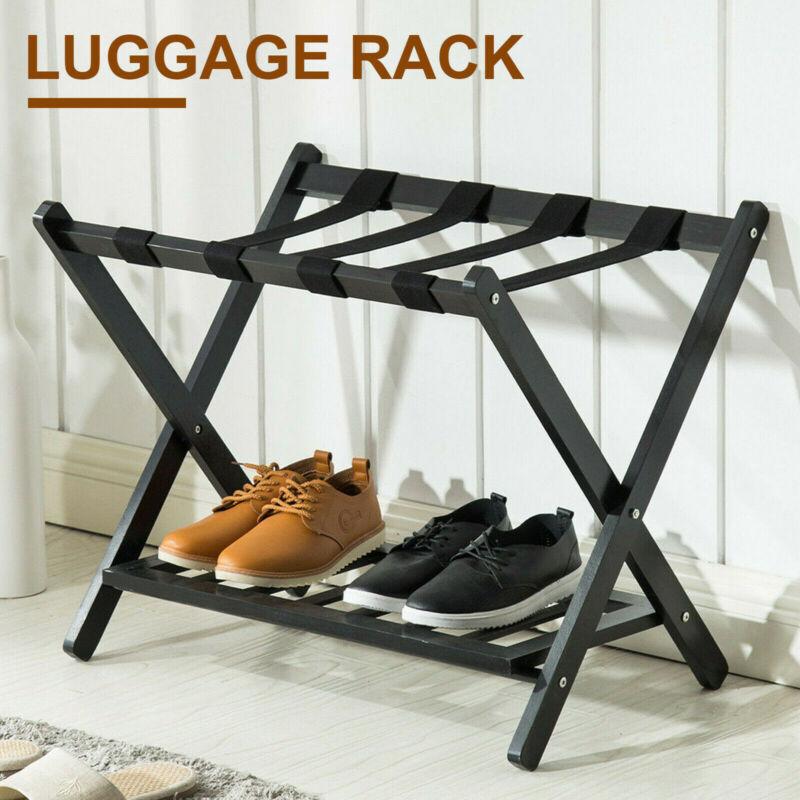 Wood Folding Luggage Rack Stand Suitcase Hotel Travel Storag