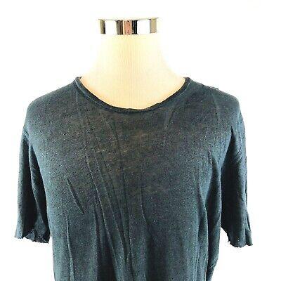 Thom Krom Linen Knit Raw Hem Faded Wash Crewneck T Shirt Mens Large NWT $150