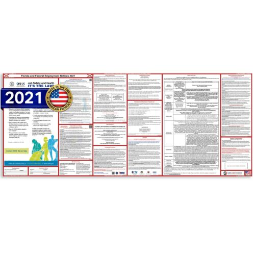 2021 Florida FL State & Federal All In One Labor Law Poster Ultra-wide PAPER