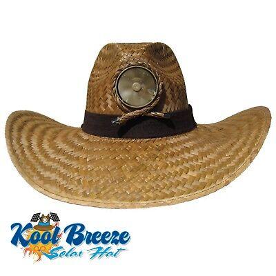 Kool Breeze Gentlemens  Brown  Solar Straw Hat W Band Solar Cooling Hat  Solar