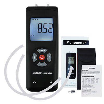 Portable Handheld Manometer Air Vacuum Gas Pressure Gauge Meter W Backlight