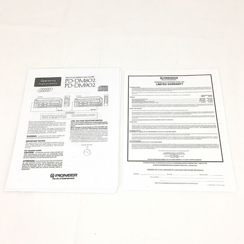 Pioneer PD-DM802 PD-DM902 REPRINTED Owners Manual Operating Instruction Warranty