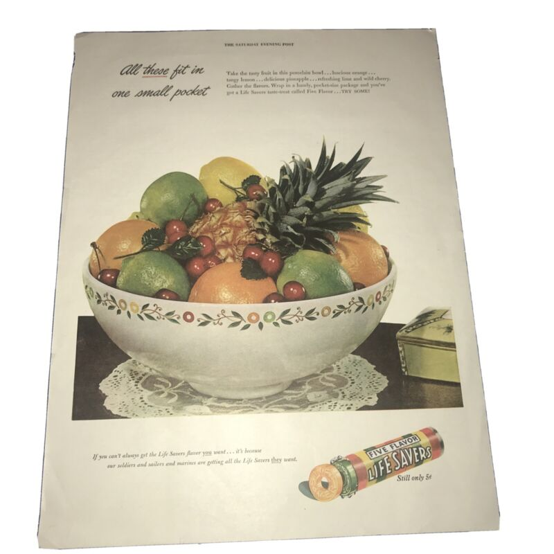1943 Life Savers Candy Vintage Print Ad Fruit Flavors 5 Cents. Saturday Eve Post