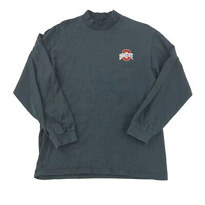 Lee Mens Medium Mockneck Long Sleeve T shirt Embroidered Ohio State Logo Ohio Embroidered T-shirt