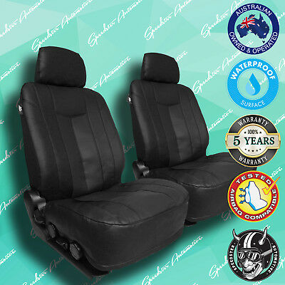 DAF CF75 AUTO BLACK LEATHER CAR FRONT SEAT COVERS THICK VINYL ALL OVER SEAT