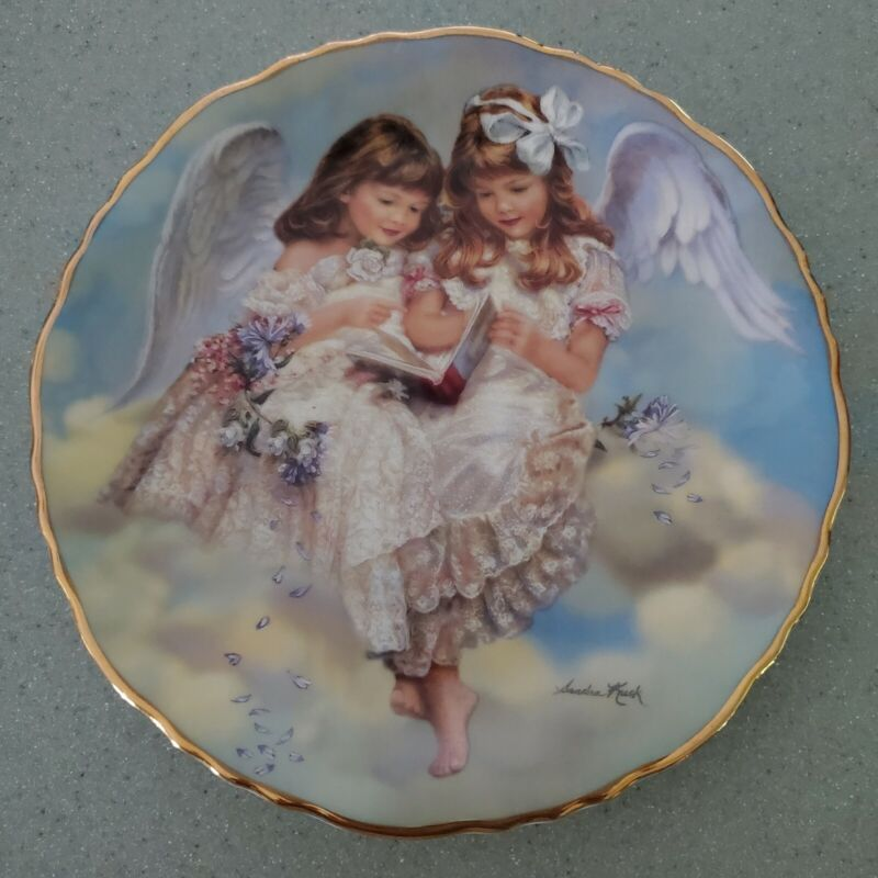 """Everlasting Friends """"SHARING STORIES"""" Angel Plate by Sandra Kuck, Numbered 224SS"""