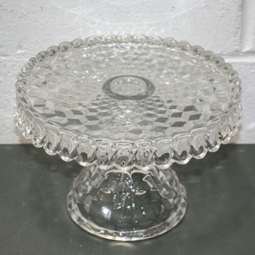 """Vintage Fostoria American Clear 10"""" Round Cake Stand with Rum Well, 7"""" Tall"""