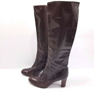 Rosina Ferragamo Schiavone Burgundy Brown Knee Boots Leather Heeled Sz 10 AA VTG