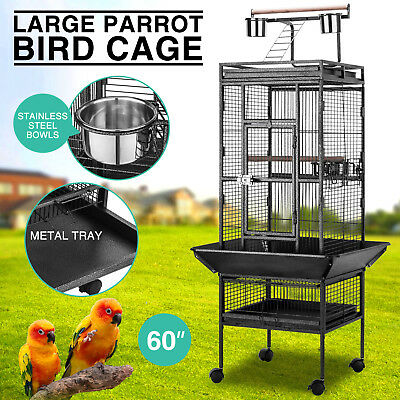 "Large 60"" Parrot Bird Small Pet Cage Play Top Macaw Finch Conure Stand Ladder"