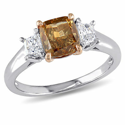 Amour Brown & White Diamond 3-Stone Engagement Ring in 2-Tone 14k Gold