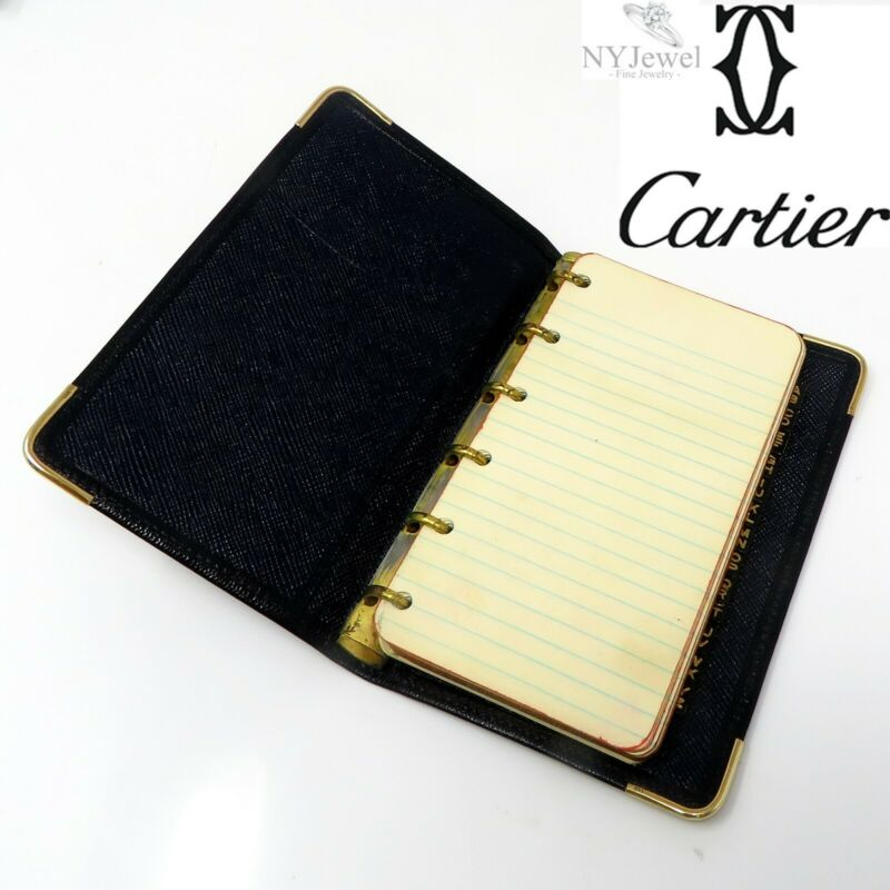 NYJEWEL Cartier 14k Yellow Gold Leather Notebook