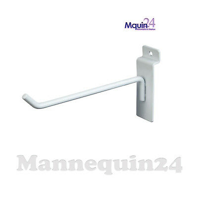 8 Inch Slat Wall Hook - White - Box Of 100