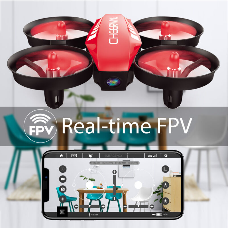 Cheerwing CW10 Mini RC Quadcopter Wifi FPV Drone w/ Camera One Key Take OFF Red