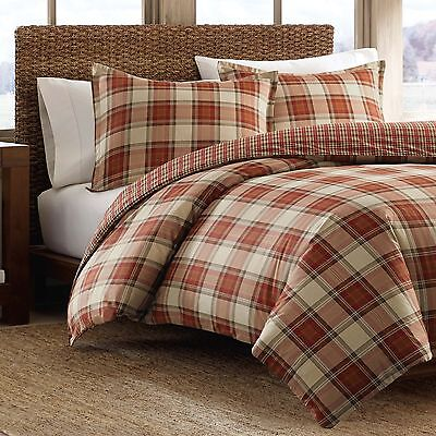Eddie Bauer Edgewood Red Plaid Cotton 3 Piece Duvet Cover Set