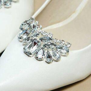 Sparkling-Acrylic-Rhinestone-Crystal-Wedding-Bridal-Silver-Tone-Shoe-Clips-Pair
