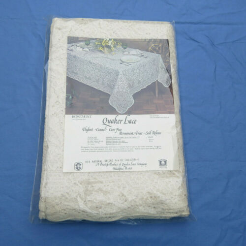 Vintage Quaker Lace Tablecloth 64 x 102 Rectangle 815 Cotton Floral NIP