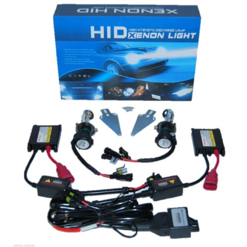 8000K Crystal Blue Hi/Low H4 HID Light Bulbs Bi-Xenon Slim Ballast Headlight Kit