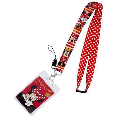 Minnie Mouse Lanyard (Minnie Mouse Lanyard Red Polka Dot Breakaway + ID Card Holder DISNEY Pin)