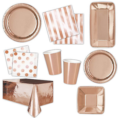 Rose Gold party plates cups tablecover Napkins Straws  Cutlery