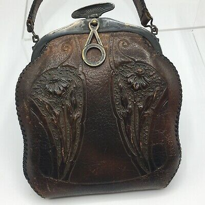 1920s Handbags, Purses, and Shopping Bag Styles Circa 1920's Tooled Art Nouveau Design Leather Purse patina Marked Pocketbook $59.00 AT vintagedancer.com