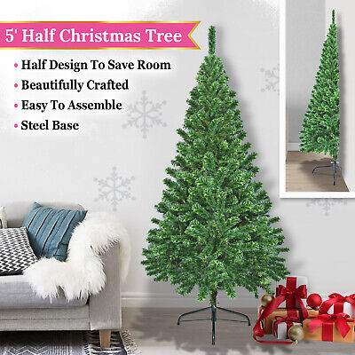 5' Artificial Wall Christmas Tree with Steel Base Space Saving Half Corner Tree ()