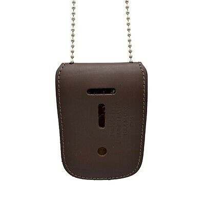 Brown Universal Badge Id Holder Neck Chain Leather Police Bail Agent Security