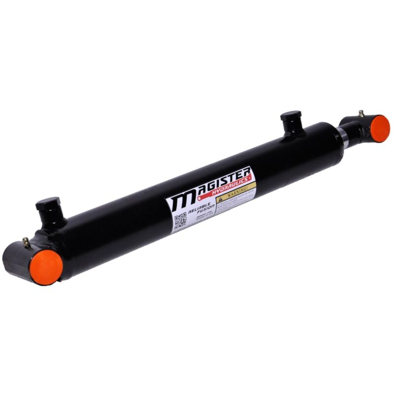 "Hydraulic Cylinder Welded Double Acting 2"" Bore 16"" Stroke Cross Tube 2x16 NEW"