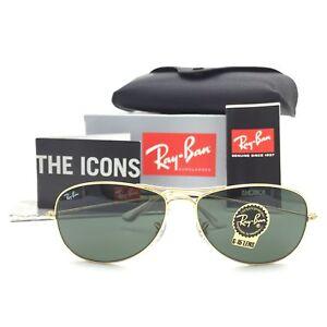 New Ray-Ban Cockpit RB3362 001 Gold Pilot Sunglasses w/ G-15 Green Lenses 59mm