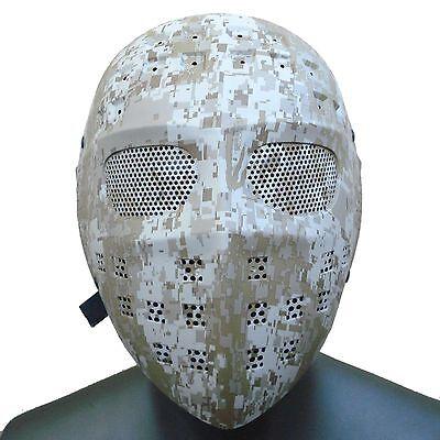 Nice Digital Desert Camo Paintball CS Airsoft Wire Mesh Eye Hockey Type Mask