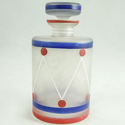 CZECH Art Glass Art Deco Perfume Bottle — Striped Painted Frosted Glass, CLEAN