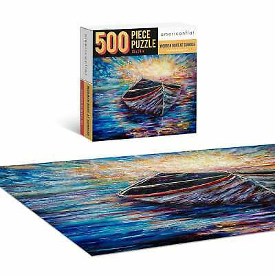 Jigsaw Puzzle Game for Adults Kids Wooden Boat 500 Piece Contemporary Puzzles