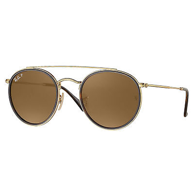 Rayban Rb3647n Round Double Bridge Polarized Sunglasses Gold  Brown Classic 51Mm